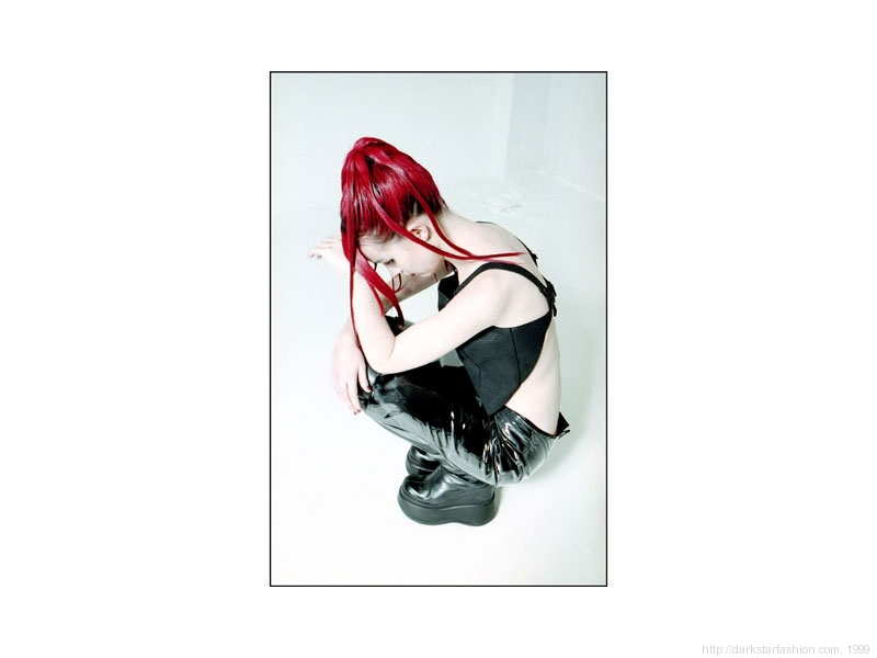 Black reptile print corset - Nylon collection - Dark Star fashion - 1999